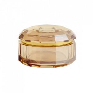 Cutie cu capac maro chihlimbar din sticla pentru bijuterii Crysta Nordal