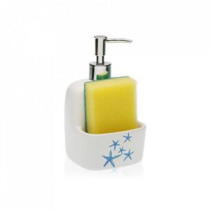 Dispenser sapun lichid alb/albastru din ceramica 10,5x17,8 cm Blue Sea Versa Home