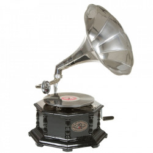 Decoratiune argintie/maro din lemn de salcam 65 cm Gramophone Octogonal Santiago Pons