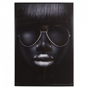 Tablou alb/negru din lemn din arbore de cauciuc 67x96 cm Girl Santiago Pons
