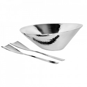 Set bol si 2 ustensile argintii din inox pentru salata Rio Edzard
