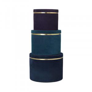 Set 3 cutii cu capac multicolore din metal si catifea Heidi Blue Thyme Cozy Living Copenhagen