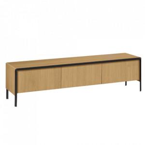 Comoda TV maro din lemn de stejar si metal 180 cm Nadyria La Forma