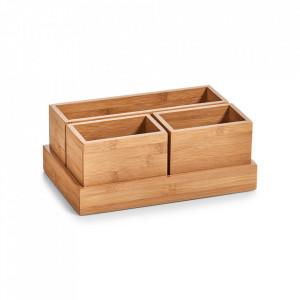 Set 4 cutii maro din lemn Noel Zeller