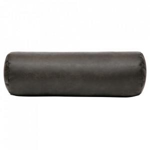 Perna decorativa rotunda neagra din poliester si nailon 20x61 cm Spool Be Pure Home