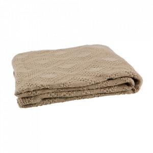 Pled crem din fibre acrilice 130x170 cm Check Be Pure Home