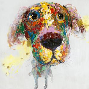 Tablou multicolor din canvas si lemn 90x90 cm Griffin Ter Halle