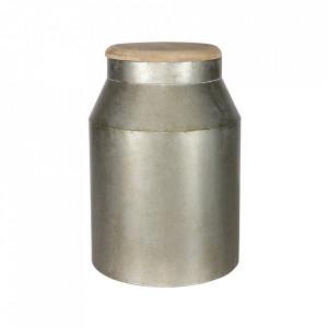 Borcan cu capac argintiu din lemn si metal 23,5x39 cm Barrel Be Pure Home