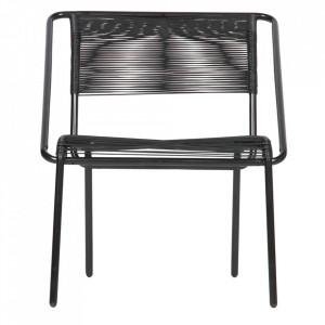 Scaun lounge negru din metal si poliester Wisp Be Pure Home