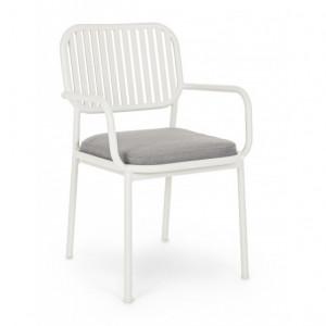 Scaun dining alb/gri din aluminiu si polipropilena pentru exterior Rodrigo Arm Bizzotto