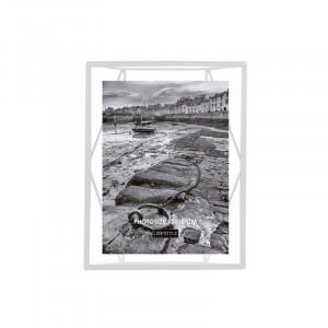 Rama foto alba/transparenta din metal si sticla pentru perete 18x23 cm Nuri LifeStyle Home Collection