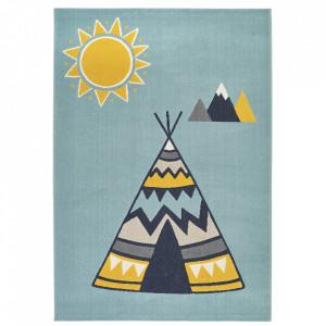 Covor albastru deschis/multicolor din polipropilena 120x170 cm Vini Young Wilderness Zala Living