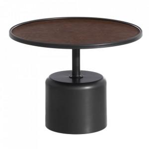 Masuta rotunda neagra/maro din fier si poliuretan 60 cm Takum Ixia