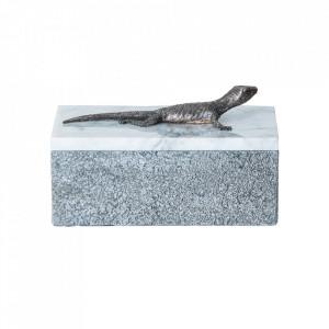 Cutie cu capac gri/alba din marmura Lizard Vical Home
