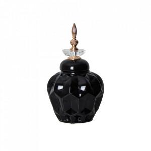 Recipient cu capac negru din ceramica 16,5x29 cm Heyer Vical Home