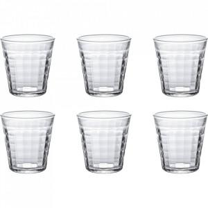 Set 6 pahare transparente din sticla 220 ml Prisme Duralex