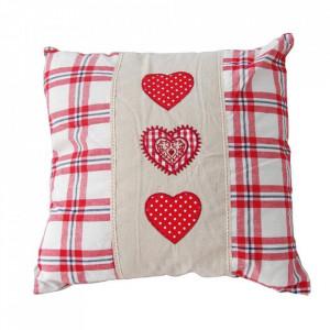 Perna decorativa crem/rosie din poliester 43x43 cm Heart Livin Hill