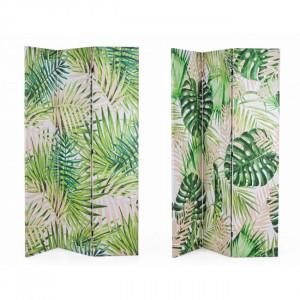 Paravan multicolor din canvas si lemn 180 cm Tropish Bizzotto