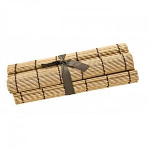 Set 4 protectii masa dreptunghiulare maro din lemn 30x45 cm Midollo Bizzotto