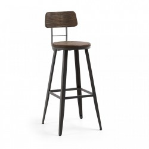Scaun bar din lemn si metal gri Malinda Graphite La Forma