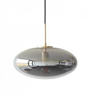 Lustra ovala din sticla gri si alama Smoke Hubsch