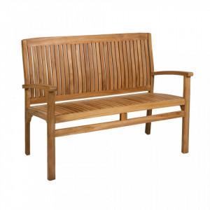 Banca din lemn tec cu spatar si manere 120 cm Garden Santiago Pons