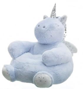 Puf rotund albastru pentru copii din poliester Unicorn Unimasa