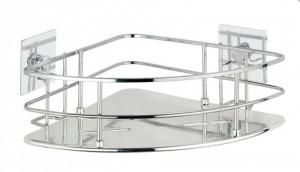 Raft de colt argintiu din inox si plastic ABS Quadro Turbo-Loc Wenko