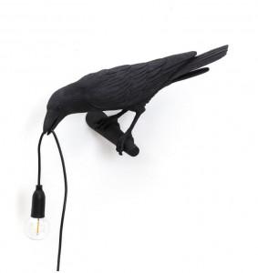 Aplica neagra din rasina pentru exterior Bird Looking Left Seletti
