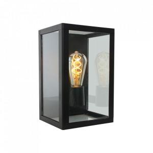 Aplica neagra/transparenta din aluminiu si sticla pentru exterior Boas Wall Steinhauer