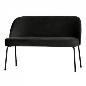 Banca negru din catifea si otel 120 cm Vogue Black Be Pure Home
