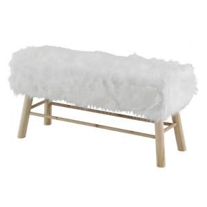 Bancheta alba din lemn si blana 100 cm Lasco Zago