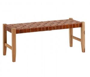 Bancheta maro din lemn de tec si piele 120 cm Calixta Kave Home