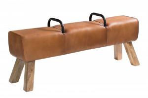 Bancheta maro din piele si lemn 134 cm Bock Invicta Interior