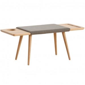 Bancheta maro/gri din lemn de stejar si textil 110 cm Baenk Woud