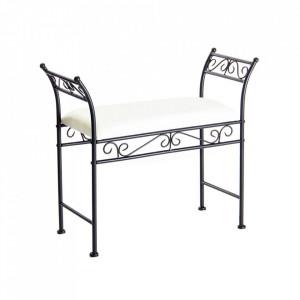 Bancheta neagra/alba din metal si bumbac pentru exterior 74 cm Garden Bench Cozy Unimasa