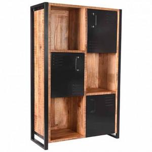 Biblioteca maro/neagra din lemn si metal 160 cm Brussels LABEL51