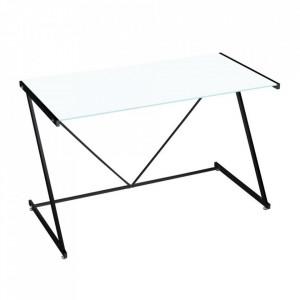 Birou alb/negru din sticla si metal 60x120 cm Cameron Big Unimasa