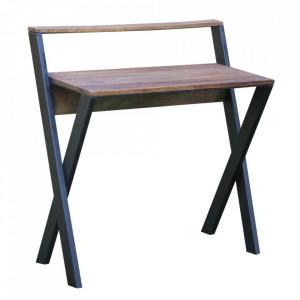 Birou maro/negru din lemn de mango si fier 88x94 cm Thisted Ixia