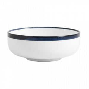 Bol salata din ceramica alba 15 cm Blue Rim Nordal