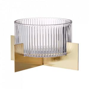 Bol transparent/auriu din sticla si metal 19 cm Tictac Bolia