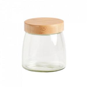 Borcan cu capac transparent/maro din sticla si lemn 950 ml Lou Zeller