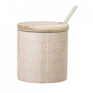 Borcan rosu din ceramica cu capac si lingurita 750 ml Cecile Bloomingville