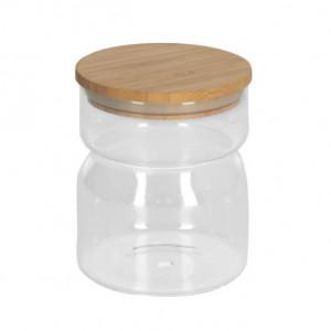Borcan transparent din sticla si lemn de bambus 550 ml Catia Kave Home
