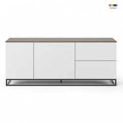 Bufet inferior alb/maro inchis din MDF si metal 160 cm Join TemaHome