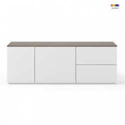 Bufet inferior alb/maro inchis din MDF si PAL 160 cm Join TemaHome