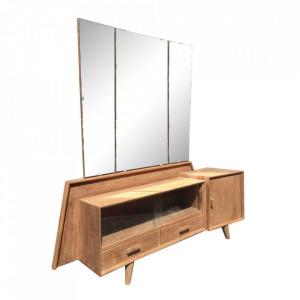 Bufet inferior cu oglinda maro din lemn de tec si sticla 140 cm Resia Denzzo