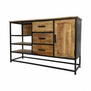Bufet inferior maro/negru din lemn de mango si fier 130 cm Display HSM Collection