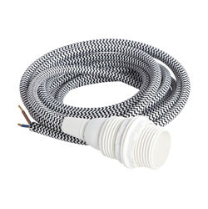 Cablu cu soclu negru/alb din plastic si textil Oby House Doctor