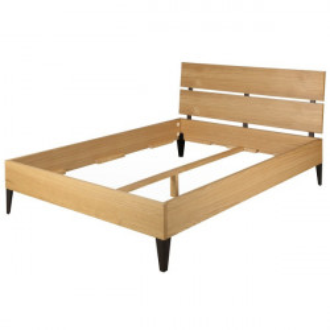 Cadru pat maro din lemn de stejar 161x204 cm Manhattan Zago